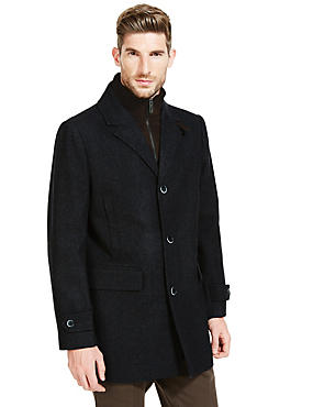 Wool Blend Coat with Removable Inner Collar