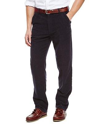 Pure Cotton Italian Moleskin Trousers, NAVY, catlanding