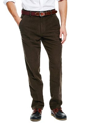 Pure Cotton Italian Moleskin Trousers, BROWN, catlanding