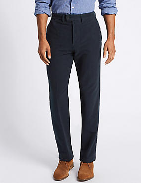 Regular Fit Moleskin Trousers, NAVY, catlanding