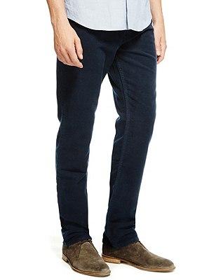 Pure Cotton Italian Moleskin Jeans, NAVY, catlanding