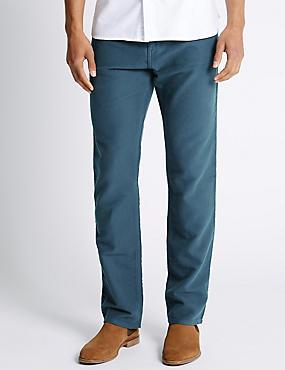 Pure Cotton Jeans Style Trousers, AIR FORCE BLUE, catlanding