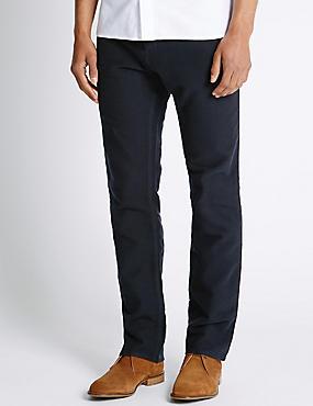 Pantalon en moleskine coupe standard 100% coton, BLEU MARINE, catlanding