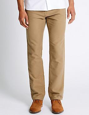 Pure Cotton Jeans Style Trousers, STONE, catlanding