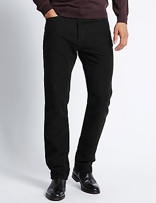 Pure Cotton Regular Fit Moleskin Trousers, BLACK, catlanding