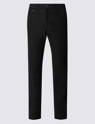 Прямые брюки джинс-стайл из чистого хлопка