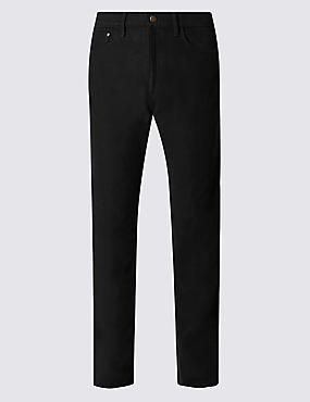 Big & Tall Pure Cotton Jean Style Trousers, BLACK, catlanding