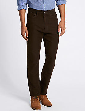 Regular Fit Pure Cotton Jean Style Trousers, BROWN, catlanding
