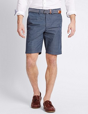 Pure Cotton Tailored Fit Belted Shorts, INDIGO, catlanding