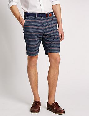 Pure Cotton Striped Chambray Shorts with Belt, INDIGO MIX, catlanding