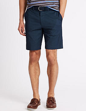Cotton Rich Textured Shorts with Belt, NAVY, catlanding