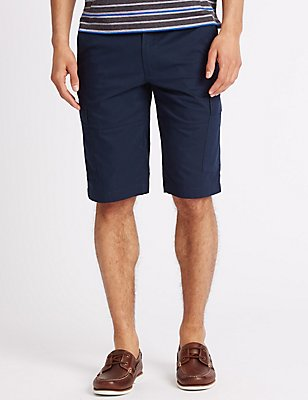 Cotton Rich Cargo Shorts with Belt, NAVY, catlanding