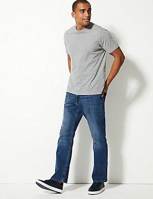 Stretch jeans met rechte pasvorm, MIDDENBLAUW, catlanding