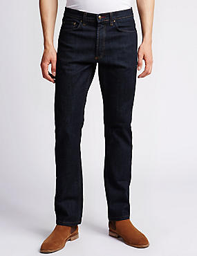 Big & Tall Straight Fit Stretch Jeans, INDIGO, catlanding