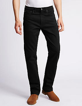 Big & Tall Straight Fit Stretch Jeans, BLACK, catlanding