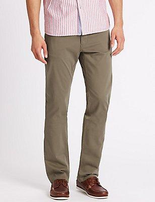 Katoenrijke broek met rechte pasvorm, HAZELNOOT, catlanding