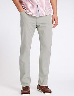 Pantalón straight de algodón, GRIS CLARO, catlanding