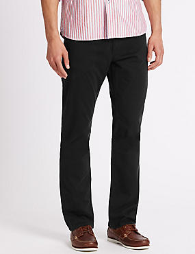 Straight Fit Cotton Rich Trousers, BLACK, catlanding