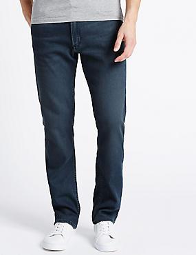 Gerade geschnittene Stretch-Jeans, MITTELBLAU, catlanding