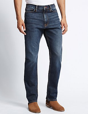 Regular Fit Washed Stretch Jeans, INDIGO, catlanding