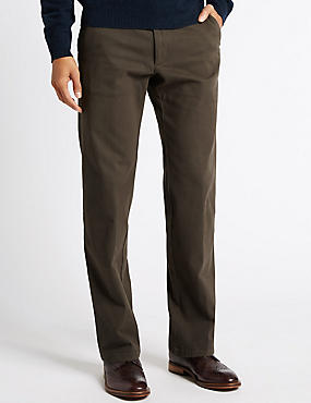 Cotton Rich Tailored Fit Chinos with Buttonsafe™, DARK CHOCOLATE, catlanding