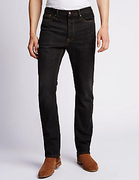 Washed Look Straight Fit Stretch Jeans