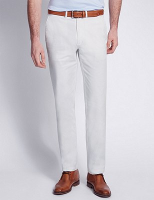 Italian Fabric Cotton Rich Tailored Fit Chinos, SOFT WHITE, catlanding