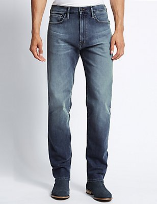 Tapered Fit Stretch Jeans, MEDIUM BLUE, catlanding