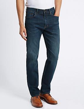 Schmal zulaufende Stretch-Jeans, MITTELBLAU, catlanding