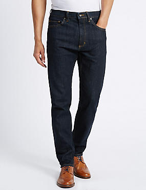 Tapered Fit Stretch Jeans, INDIGO, catlanding