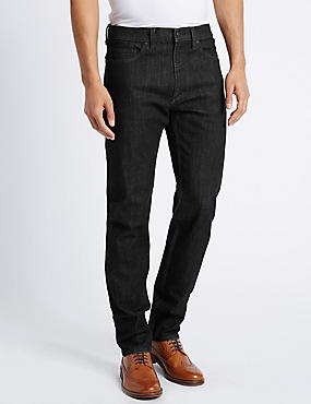 Tapered Fit Stretch Jeans, BLACK, catlanding