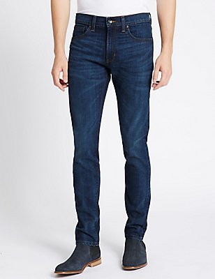 Skinny Fit Stretch Jeans, MEDIUM BLUE, catlanding