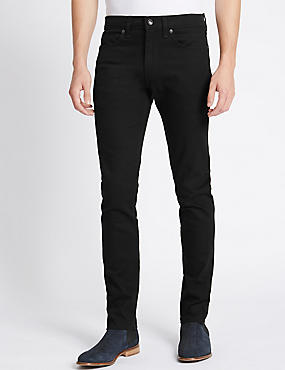 Skinny Fit Stretch Jeans, BLACK, catlanding