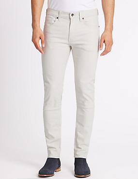 Schmal geschnittene Stretch-Jeans, ECRU, catlanding