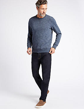 Tapered Fit Stretch Jeans, INDIGO MIX, catlanding