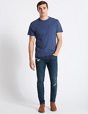 Skinny Fit Stretch Jeans, BLUE, catlanding