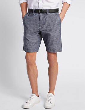 Pure Cotton Tailored Fit Chambray Shorts, INDIGO, catlanding