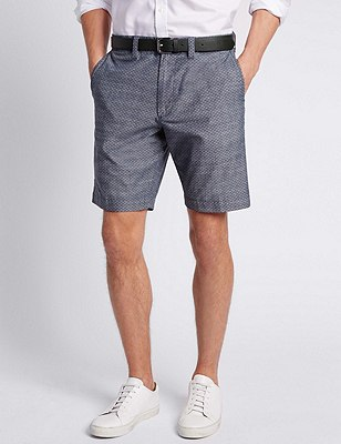Pure Cotton Tailored Fit Chambray Shorts, INDIGO, catlanding