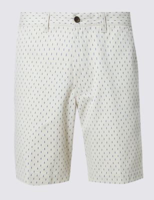 Зауженные принтованные шорты из чистого хлопка M&S Collection T171411M