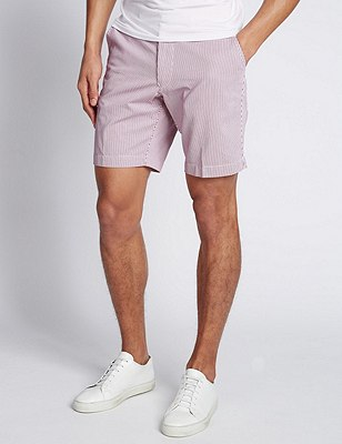 Pure Cotton Tailored Fit Striped Shorts, RED MIX, catlanding