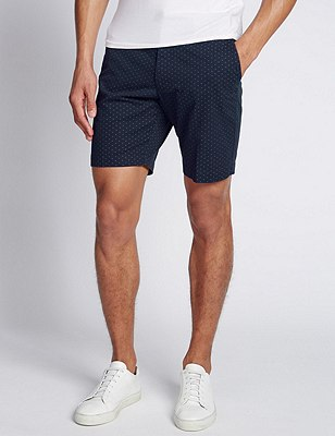 Pure Cotton Mini Flecked Shorts, NAVY MIX, catlanding