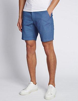 Shorts aus reiner Baumwolle mit Mini-Punktmuster, BLAU MELANGE, catlanding