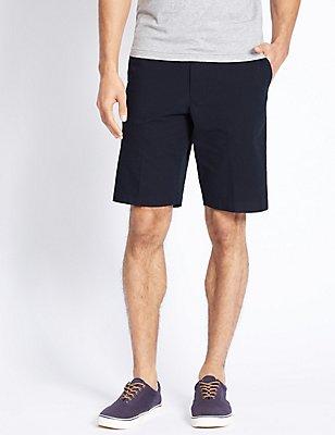 Shorts aus reiner Baumwolle in Übergröße mit Streifendesign, MARINEBLAU MELANGE, catlanding