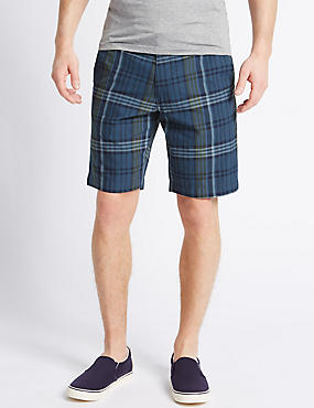 Pure Cotton Checked Shorts, NAVY MIX, catlanding