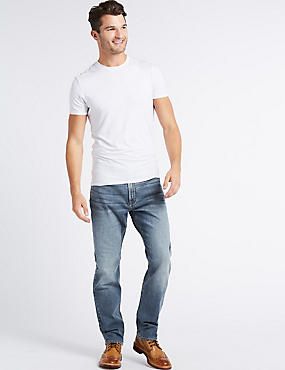 Tapered Fit Stretch Jeans, MEDIUM BLUE MIX, catlanding