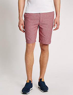 Linen Blend Chambray Chino Shorts, RED, catlanding