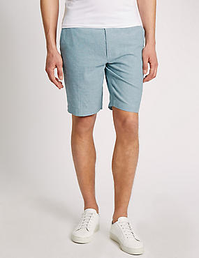 Linen Blend Chambray Chino Shorts, TURQUOISE, catlanding