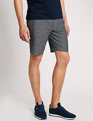 Linen Blend Chambray Chino Shorts, LIGHT GREY, catlanding