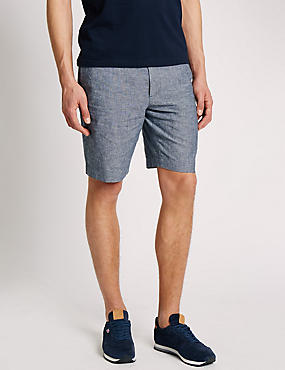 Linen Blend Chambray Chino Shorts, INDIGO, catlanding