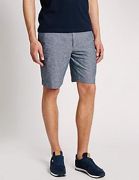 Chambray-Chino-Shorts aus Leinenmischgewebe, INDIGO, catlanding
